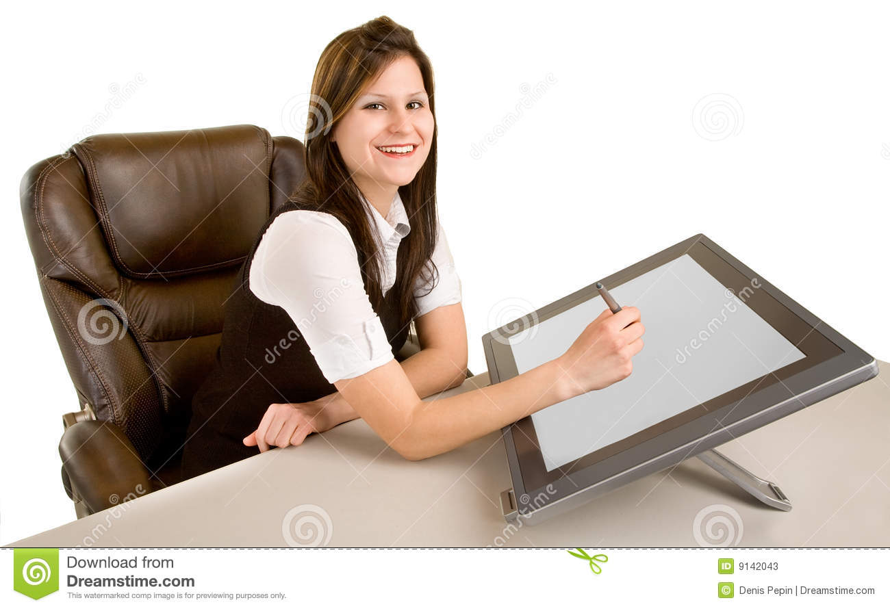 Woman Drawing on a Digital Tablet