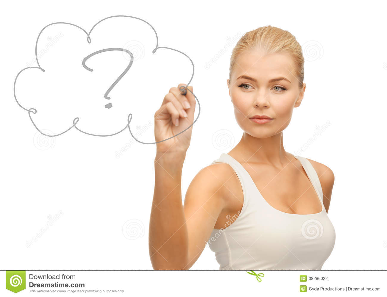 Woman Drawing Question Mark Stock Photography - Image: 38286022