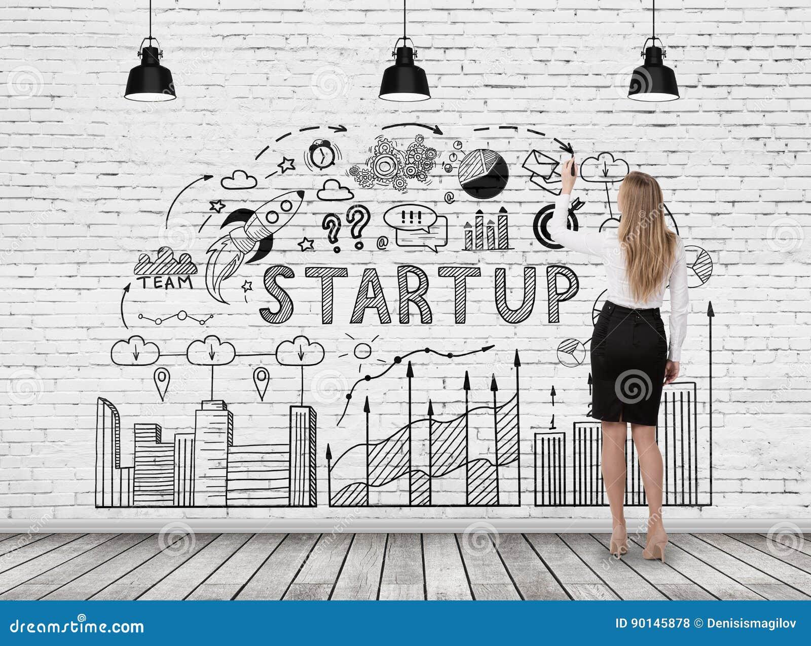 Woman Drawing Start Up Diagram Stock Illustration - Illustration of ...