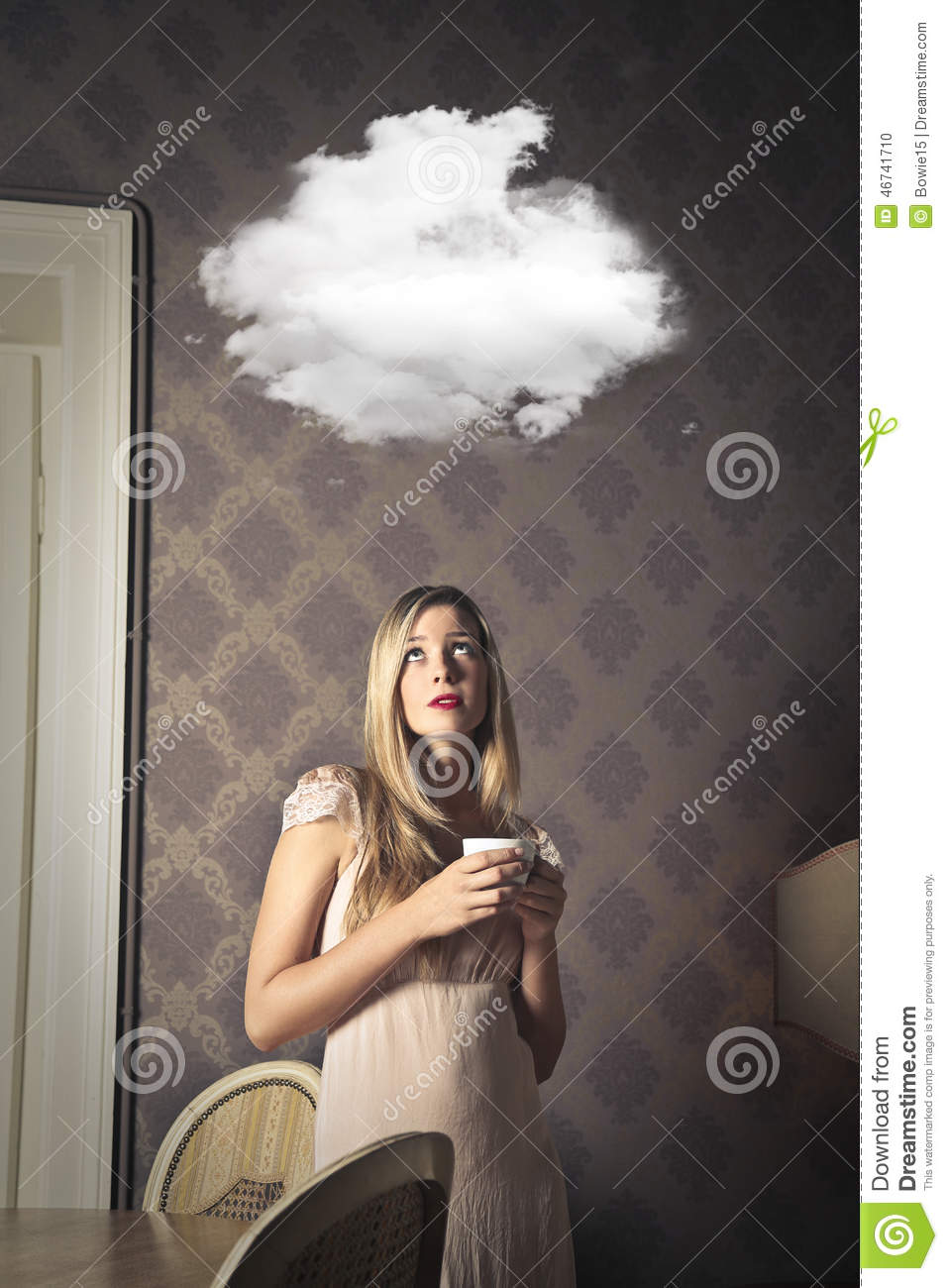 Woman Dreaming Of Another Place Stock Photo - Image of
