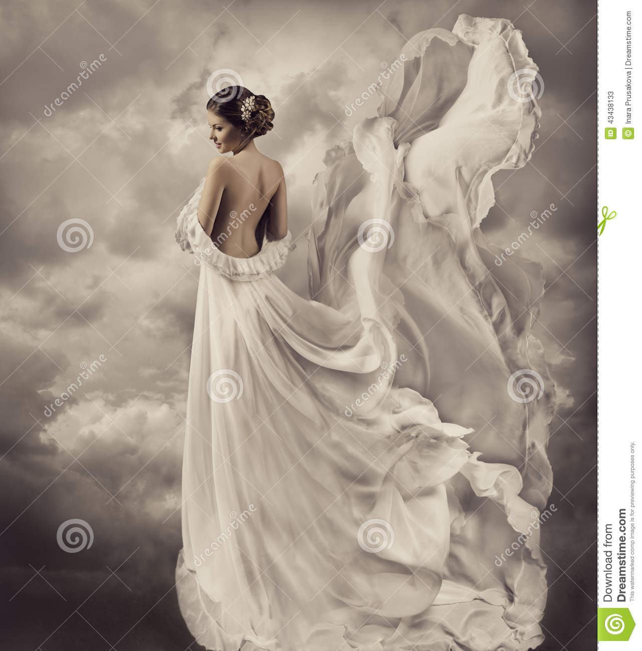 Woman Dress Artistic White Blowing Gown Waving A Stock