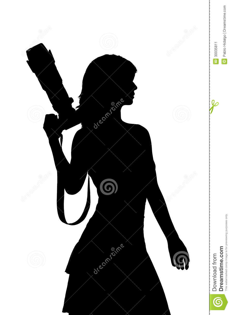 Woman With Camera Silhouette Stock Illustration ...