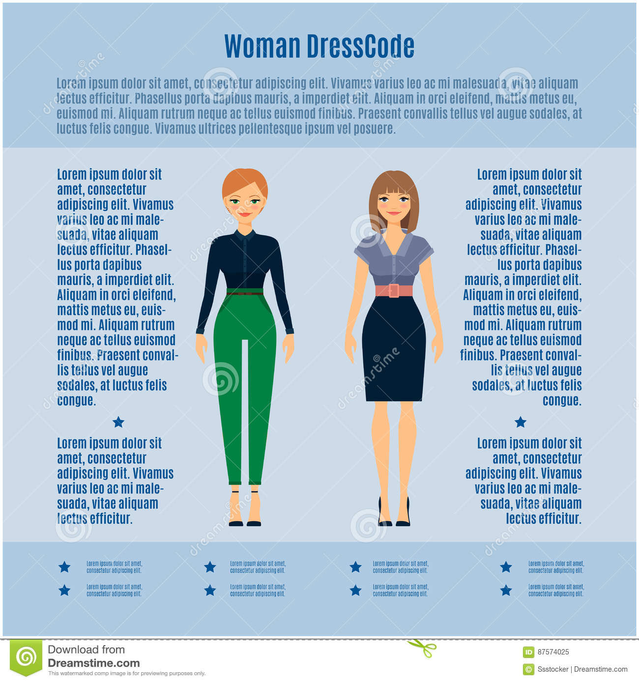 e3d9043cff Woman Dress Code Infographic Stock Vector - Illustration of casual ...