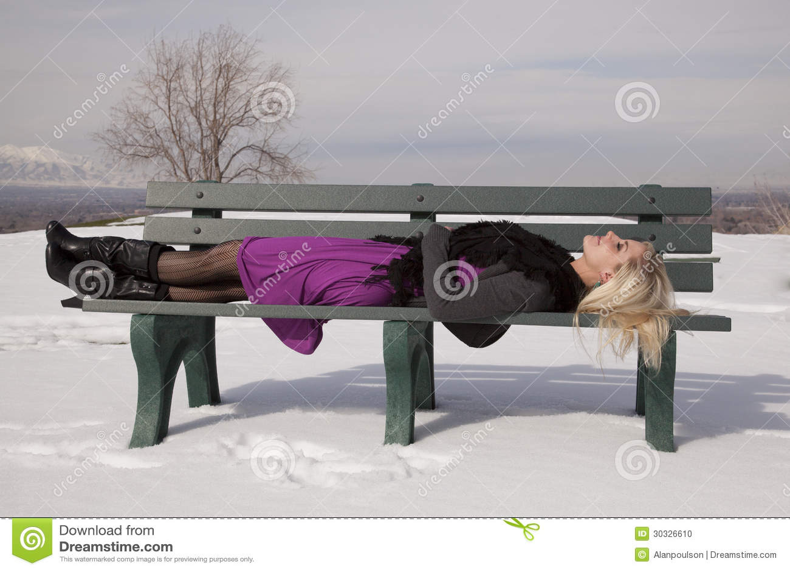 Woman Dress Lay On Bench Snow Stock Photo Image 30326610