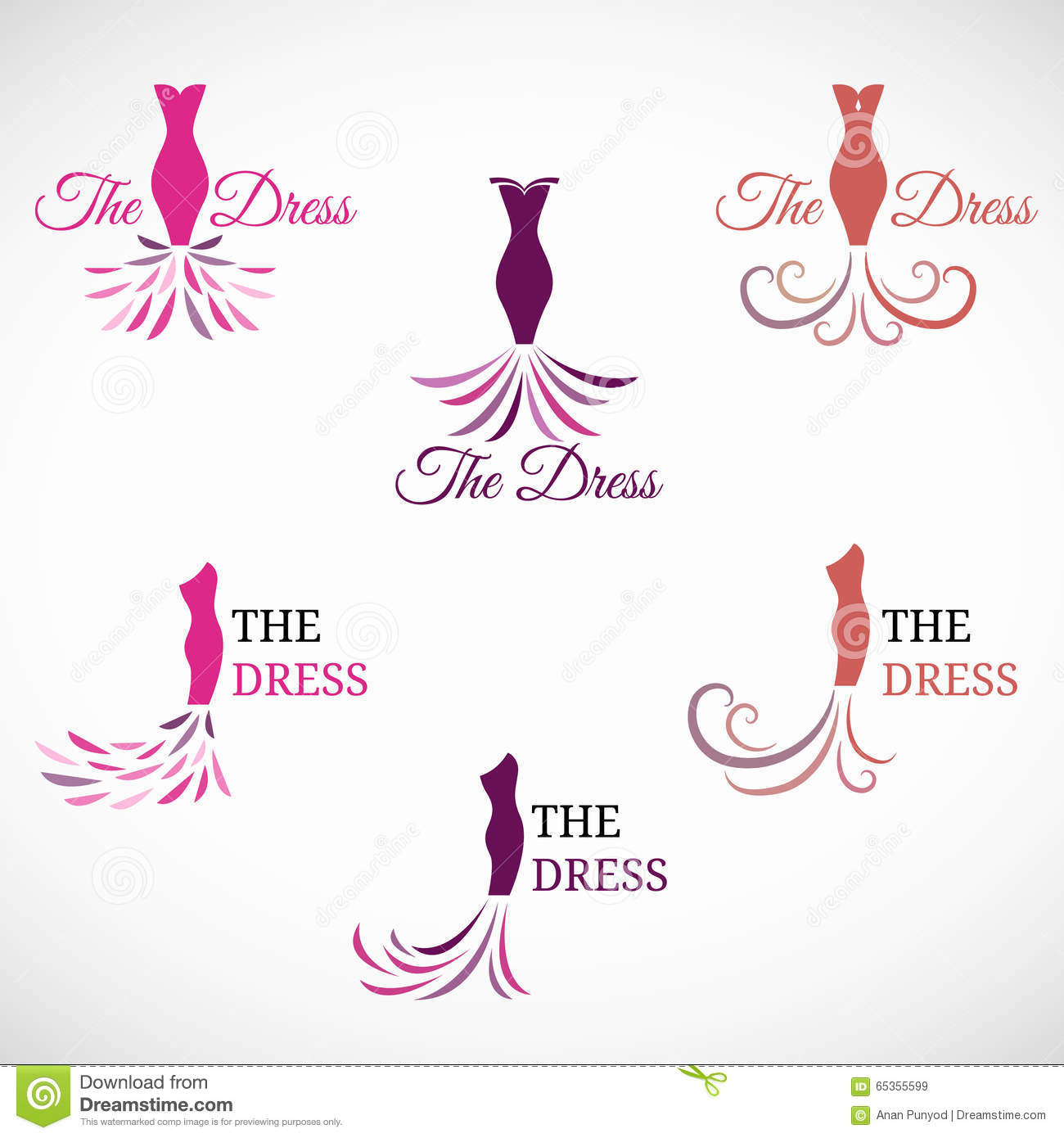 The Woman Dress Logo Vector Set Design Stock Vector ...
