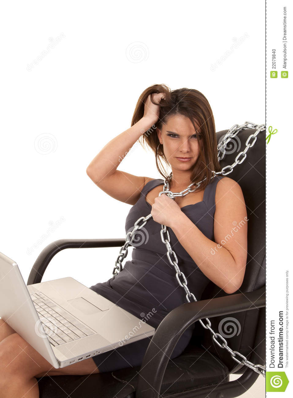 mad girl on computer