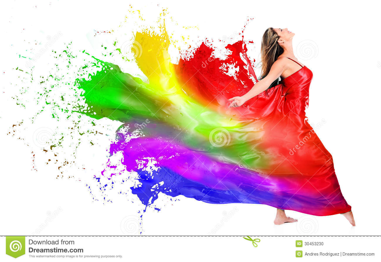 Woman Dress Turning Into Color Paint Stock Photo Image