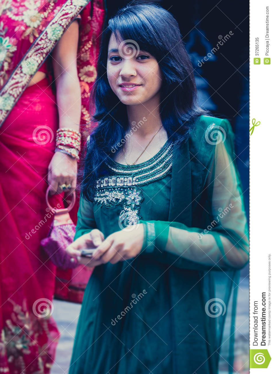 Woman Dressed In A Blue Traditional Indian Dress For A Wedding I ...