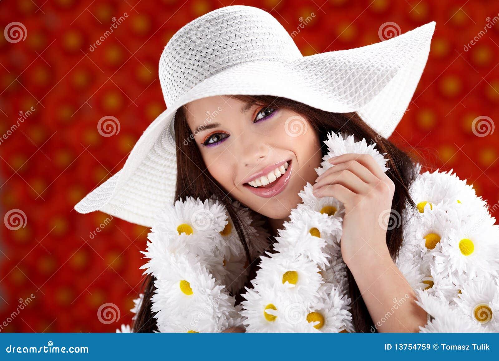 Woman dressed flower coat