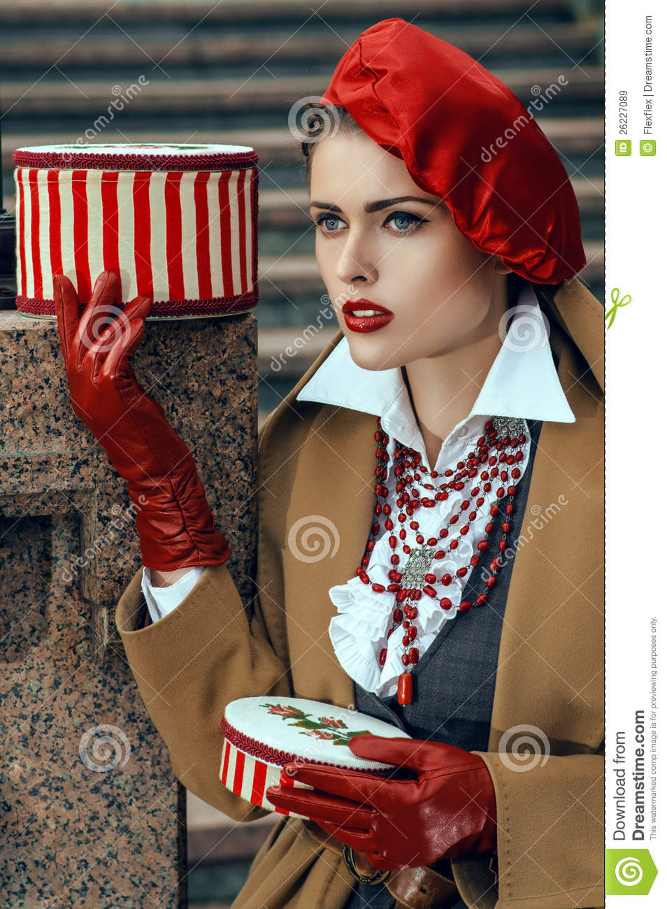 Woman Dressed In A French Style Royalty Free Stock Images
