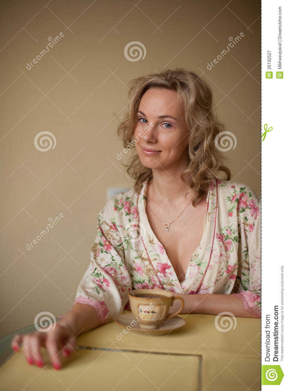 A woman in a dressing gown stock image. Image of caucasian - 26192527