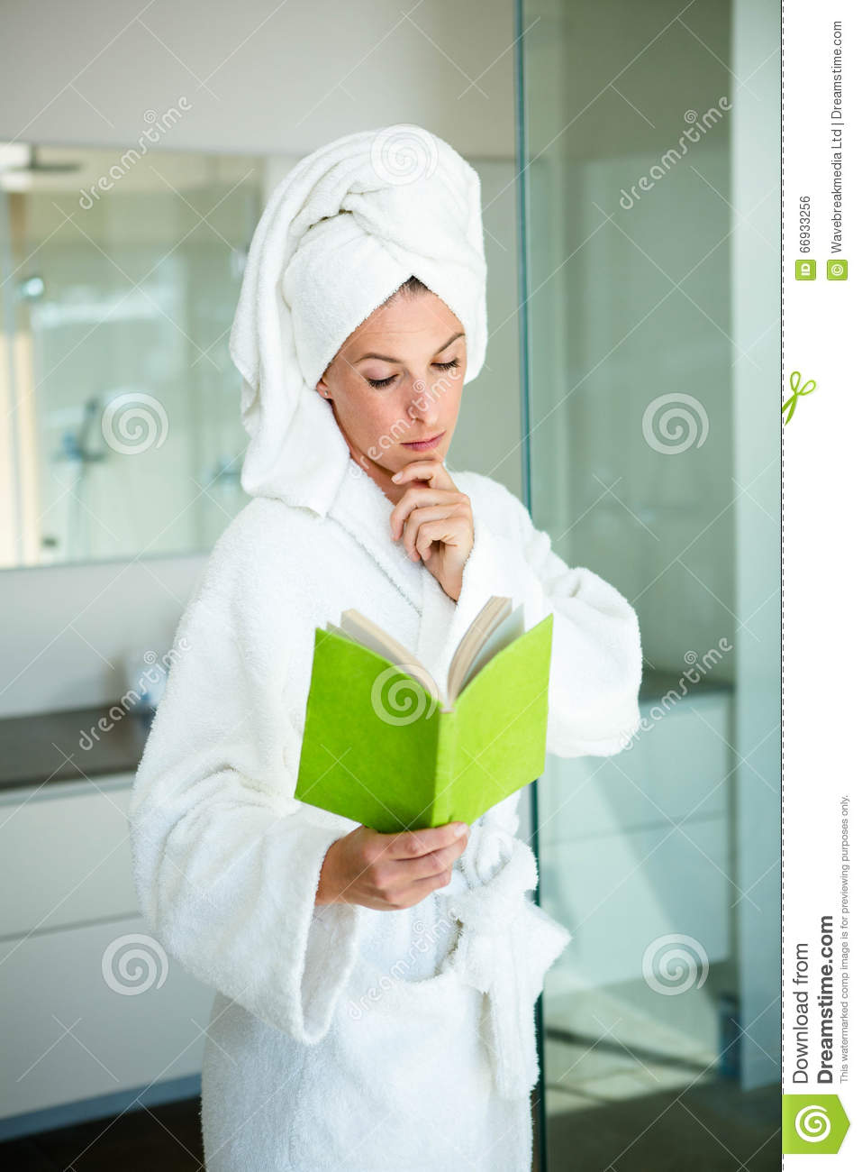 Woman In A Dressing Gown Reading A Book Stock Photo - Image of ...