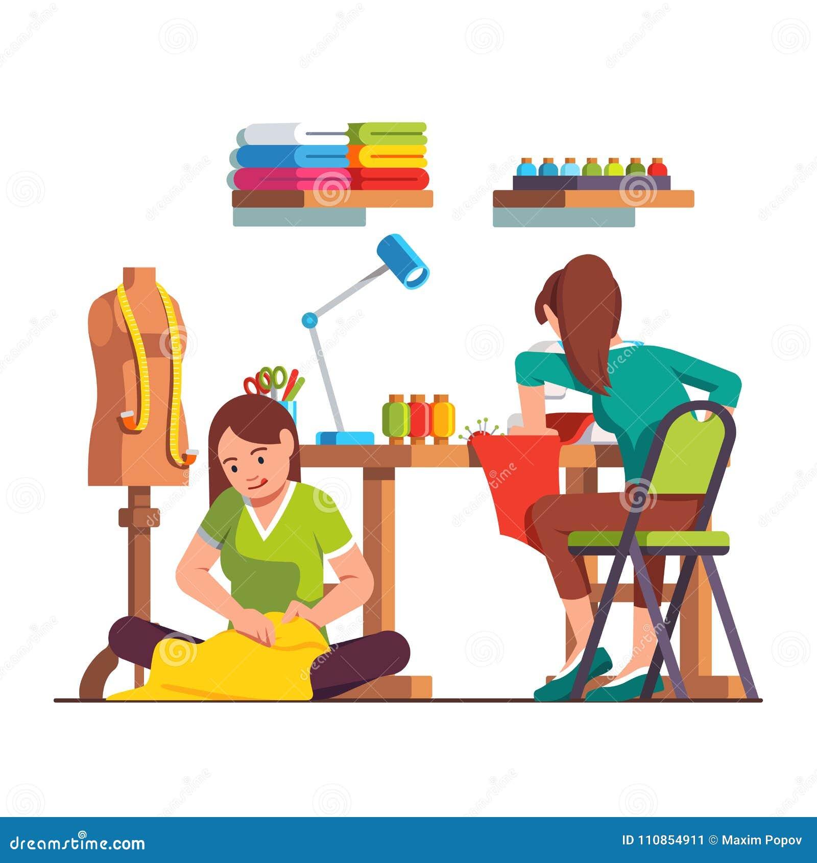 Woman dressmaker stitching, seamstress working