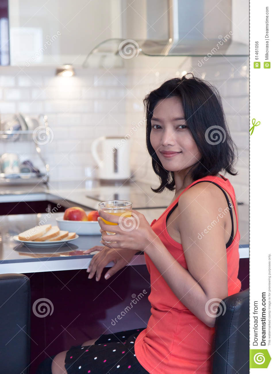 Woman with drink stock photo image 61461056 for Food bar kitchen jkl