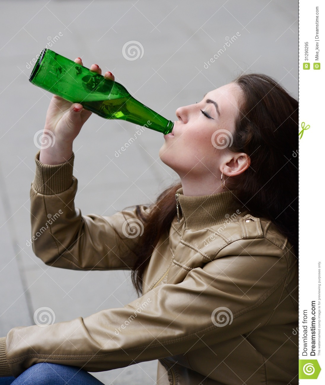 Woman drinking beer stock image. Image of alcoholism ...