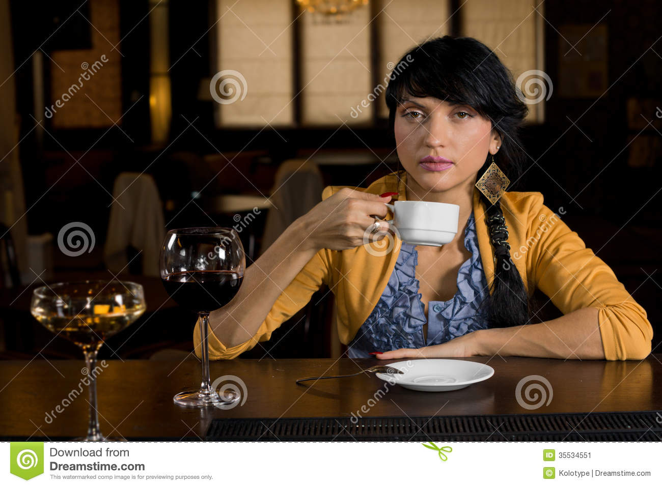Woman Drinking Coffee At A Bar Counter Stock Image Image Of Espresso Cheerful 35534551