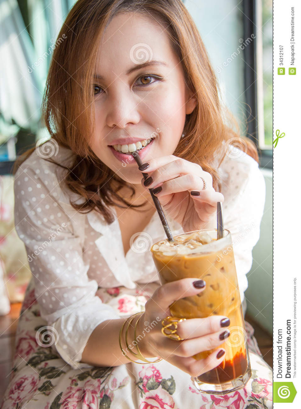 Woman Drinking Iced Coffee. Stock Image - Image of pretty ...