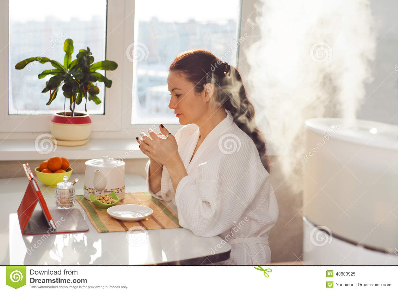 Tea Reading Tablet At Humidifier Stock Photo Image: 48803925 #B93910