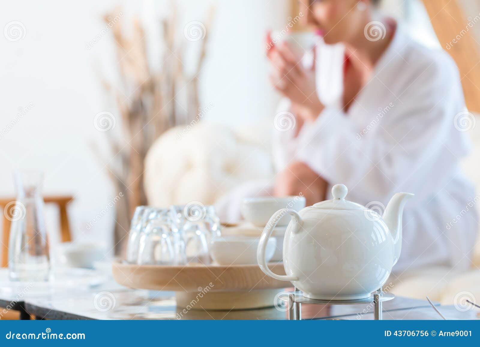 Woman Drinking Tea In Wellness Spa Stock Photo Image