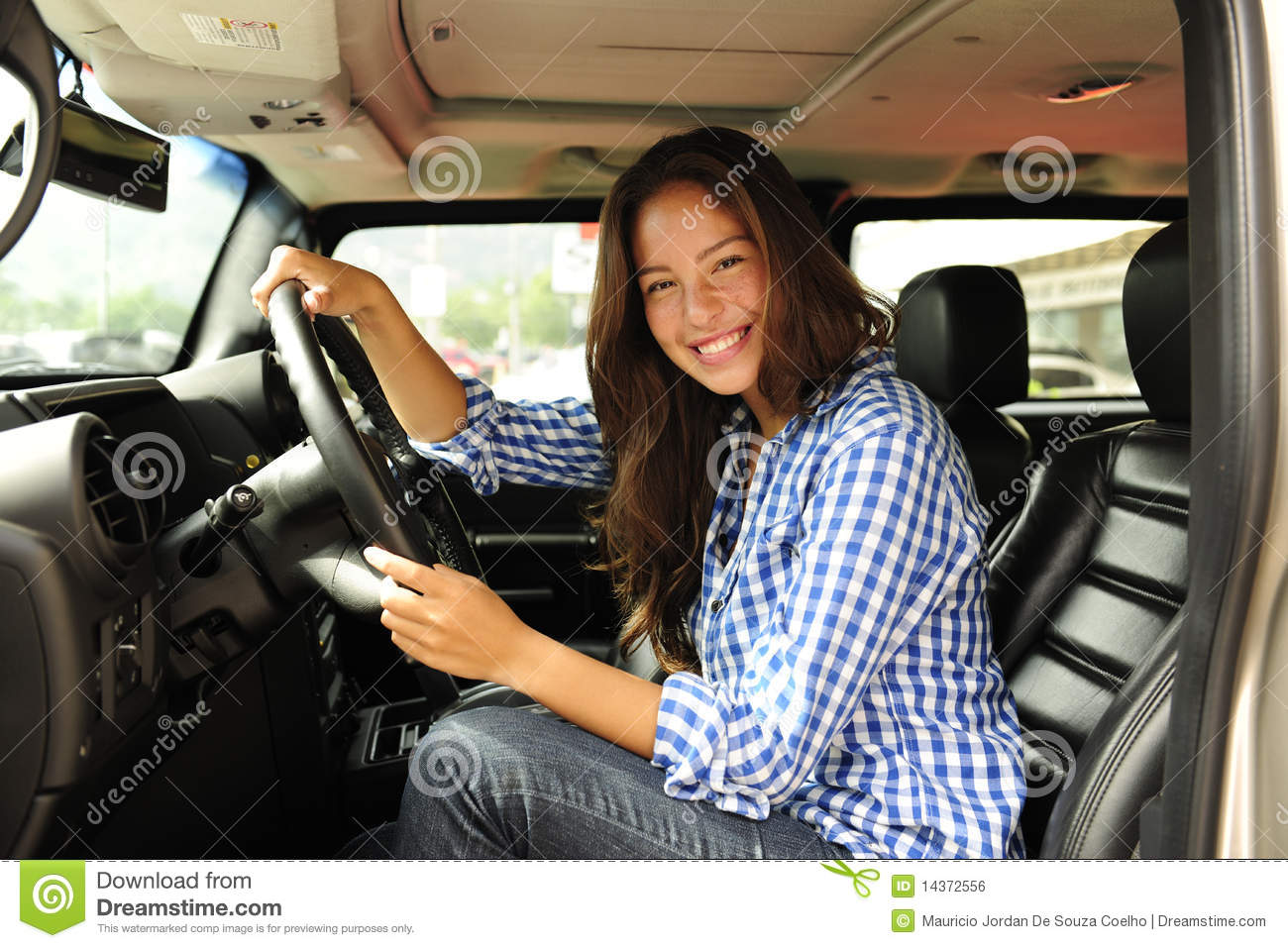 Woman Driving Her New Bulletproof Truck Royalty Free Stock