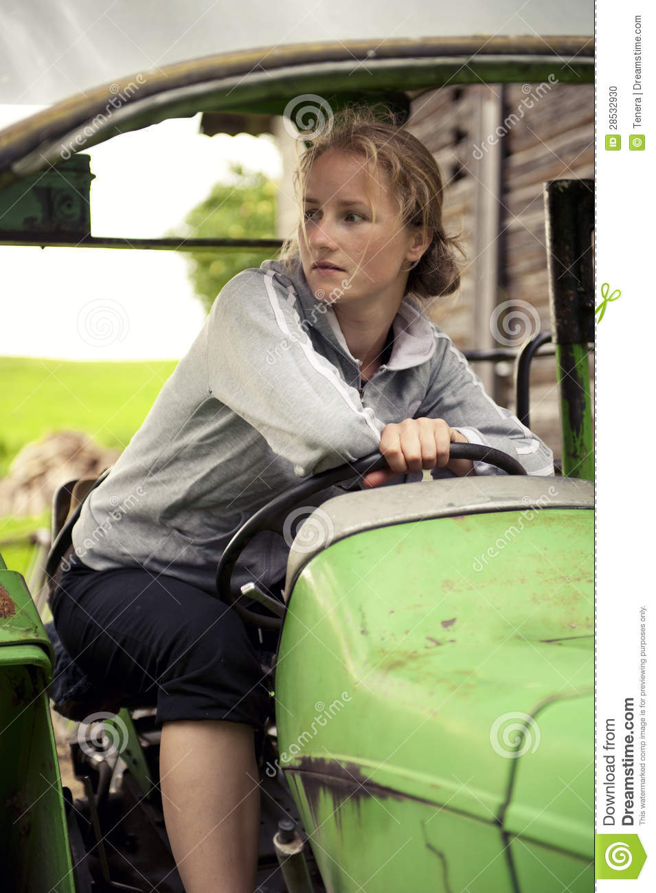Woman Driving A Tractor Stock Photo Image 28532930