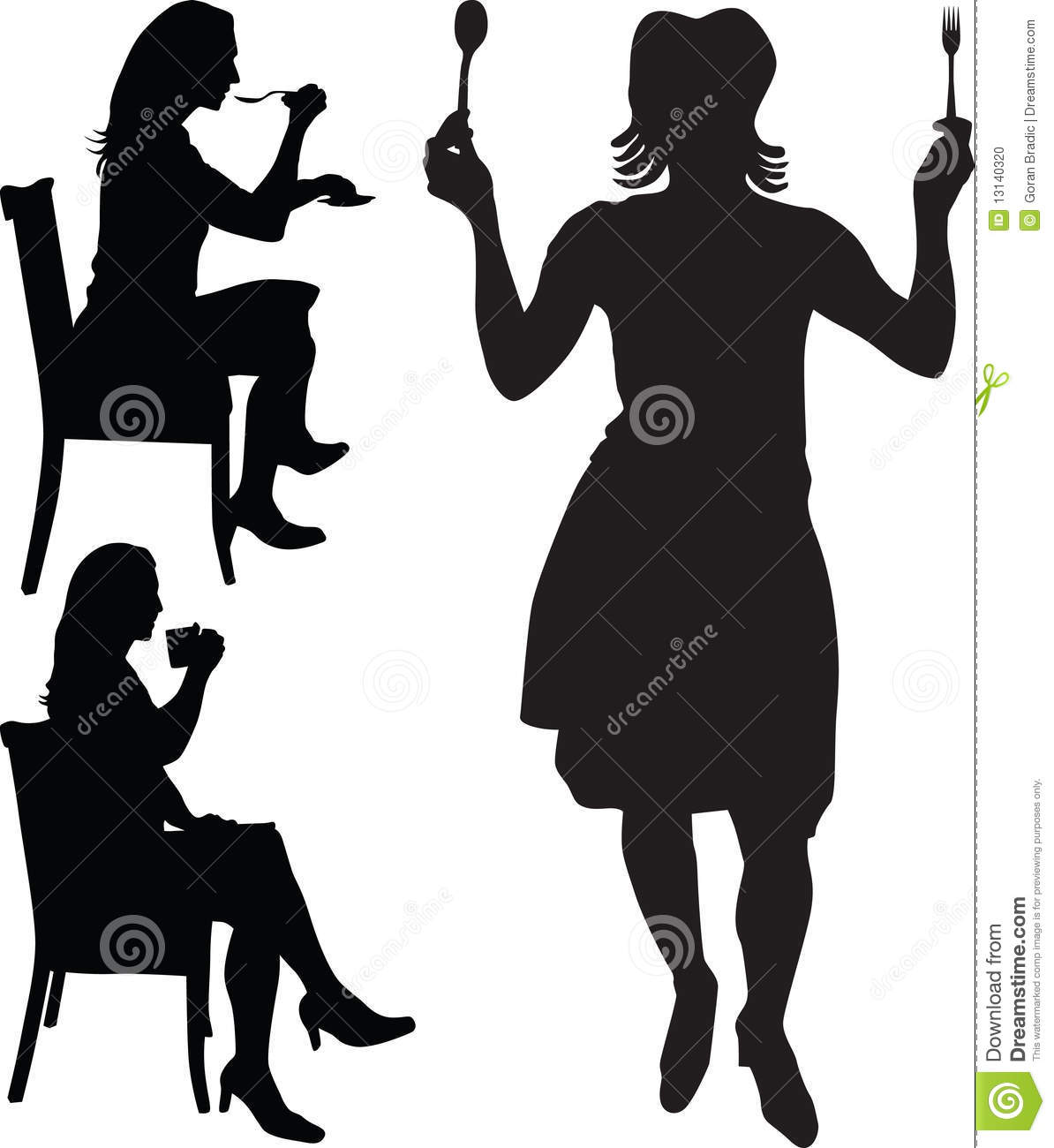 Woman Eat And Drink Silhouette Stock Photo Image 13140320