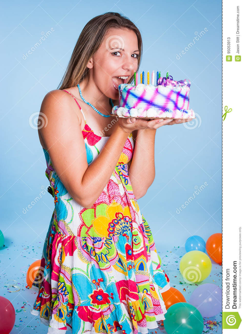Superb Woman Eating Birthday Cake Stock Image Image Of Pretty 95053913 Funny Birthday Cards Online Inifofree Goldxyz