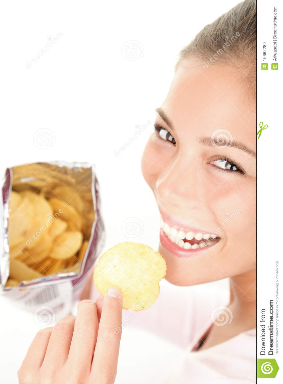 Woman eating chips royalty free stock images image 15662289 - Snack eten ...