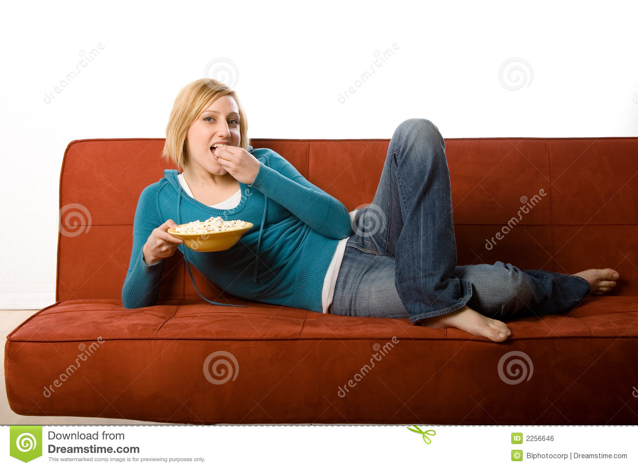 Woman Eating On Couch Stock Photo Image Of Bare Lady
