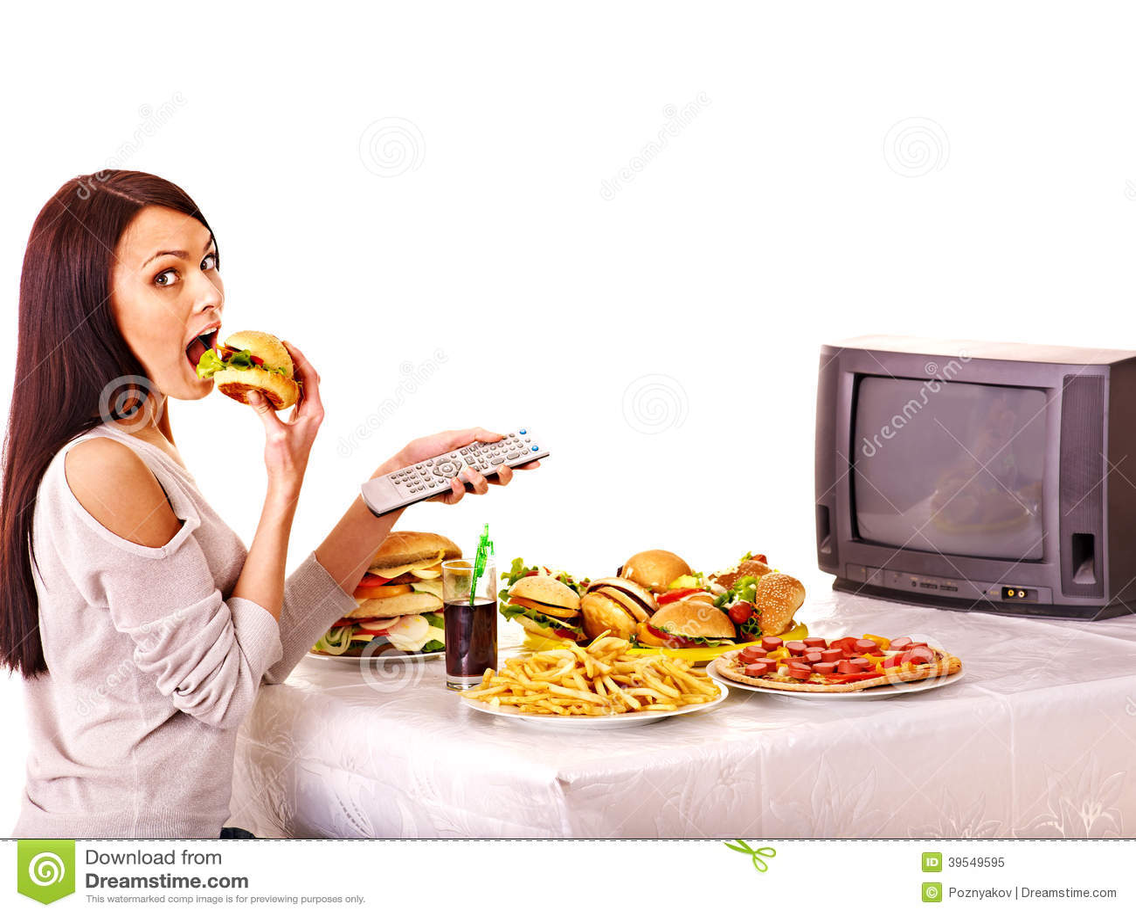 Woman Eating Hot Dog