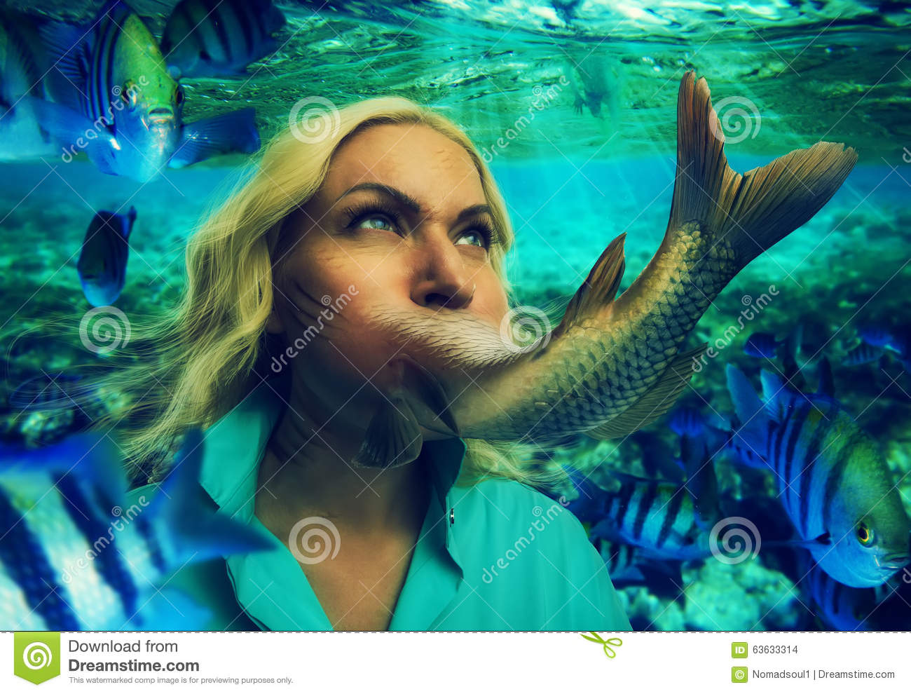 Woman eating fish stock photo image of hold fish eating for Dreaming of eating fish
