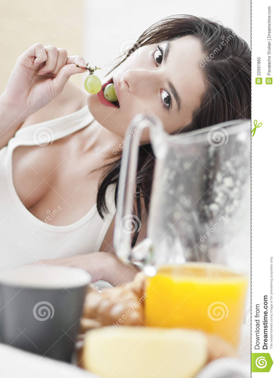 Woman Eating Grapes On Breakfast Stock Image - Image of ...