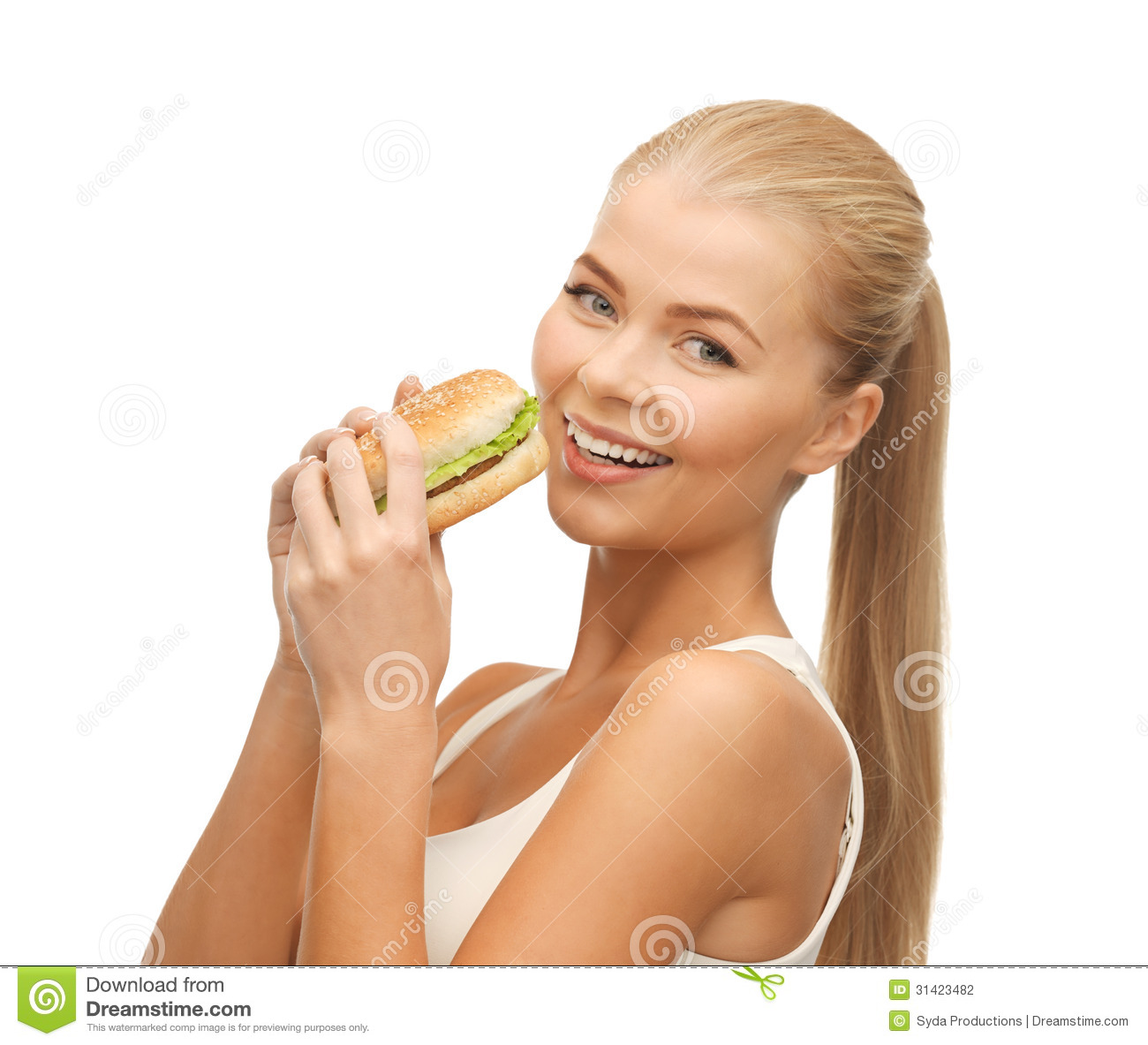 Woman Eating Junk Food Stock Photography - Image: 31423482