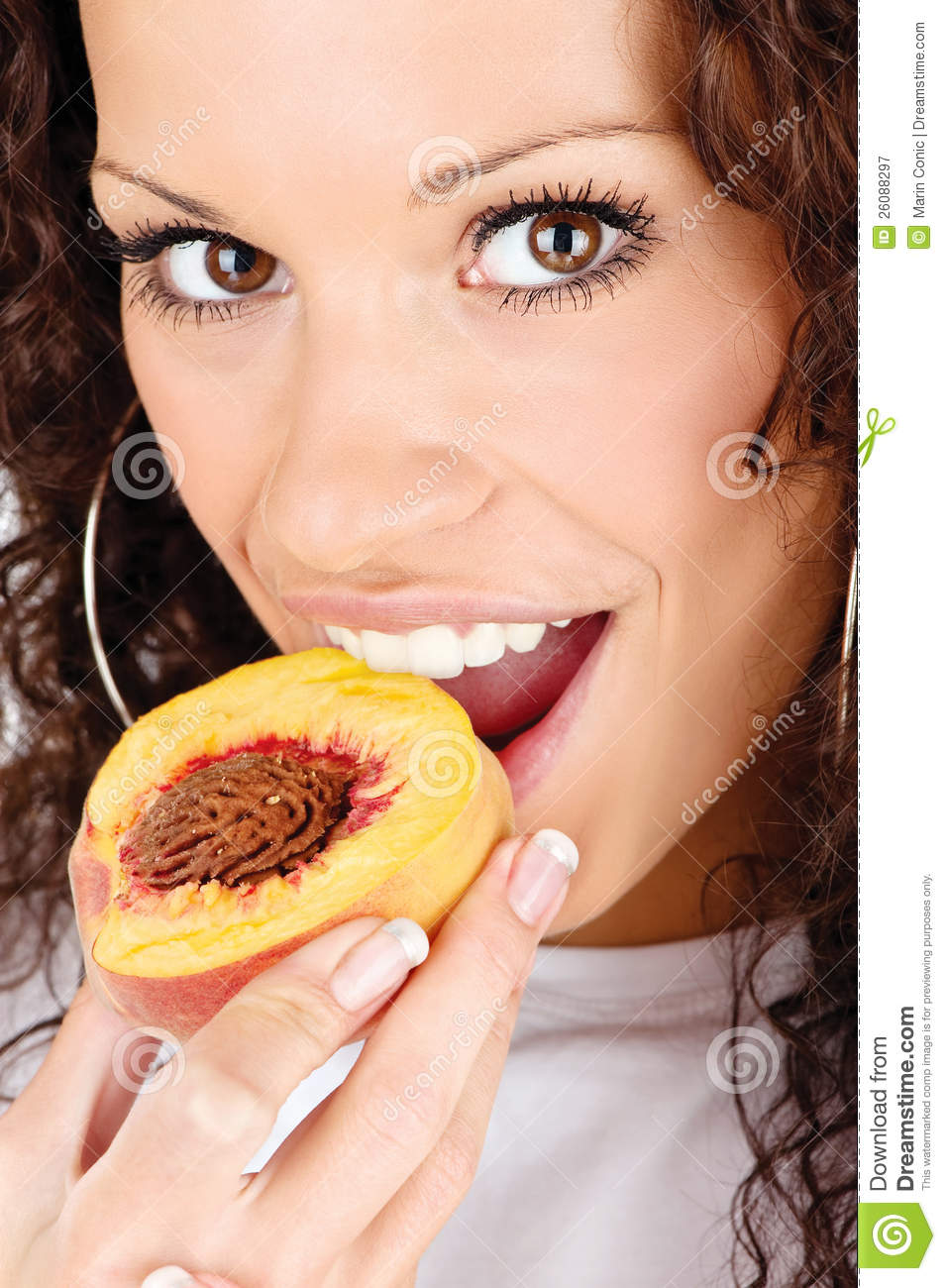 More similar stock images of ` Woman eating peach `