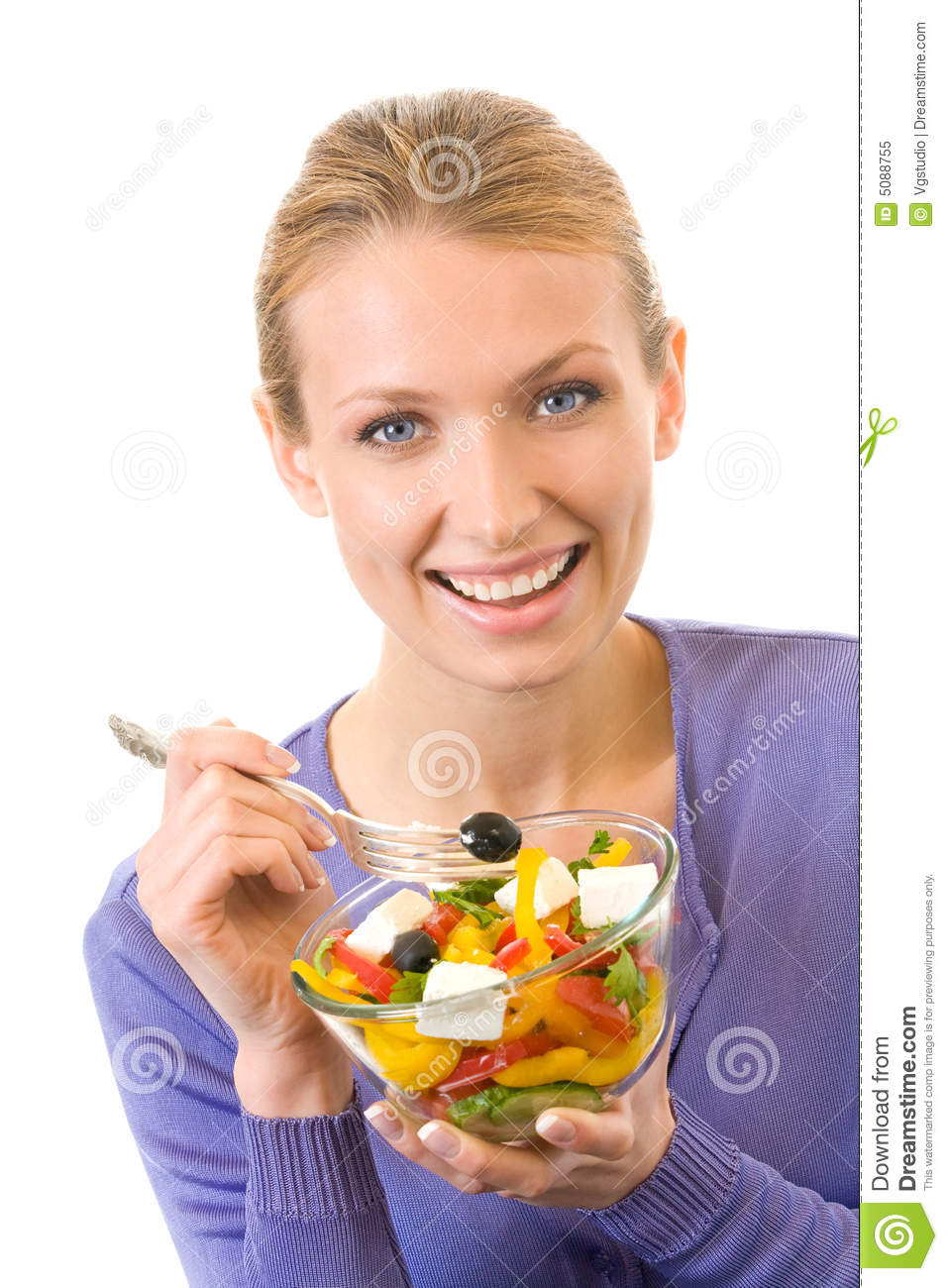 Woman eating salad, isolated