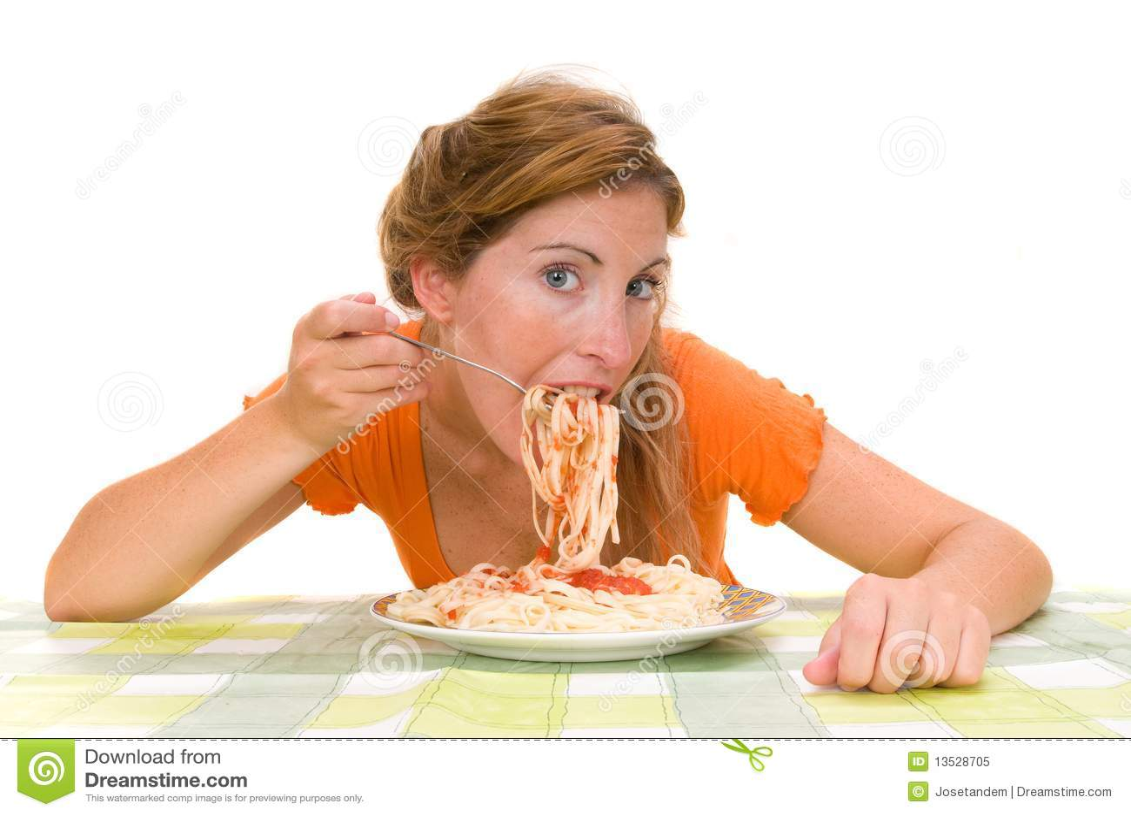 Woman Eating Spaghetti Royalty Free Stock Photo - Image: 13528705