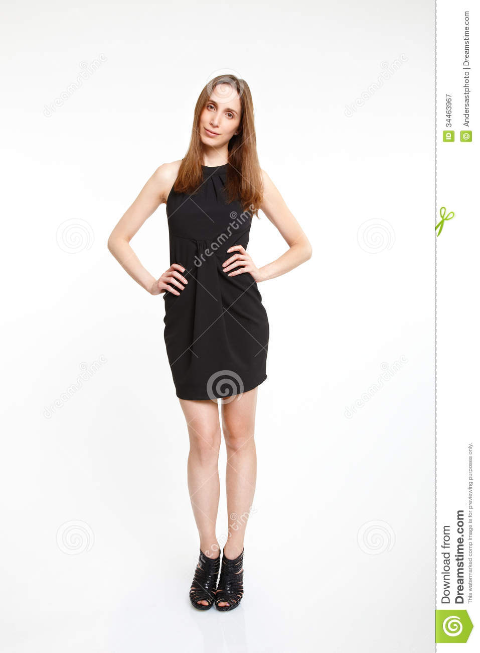 Woman In Elegant Black Dress Stock Image