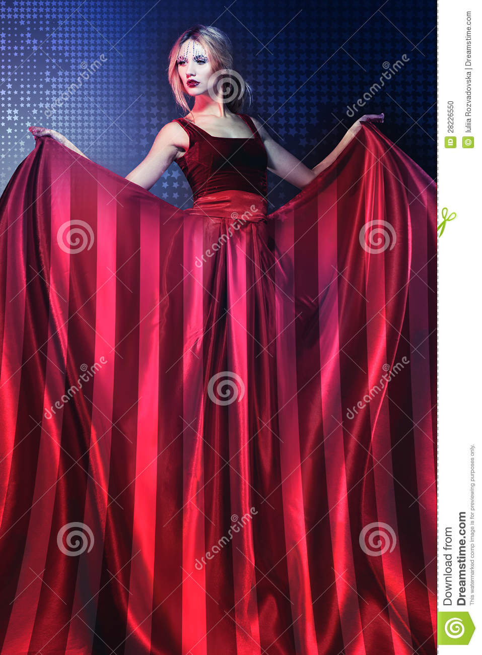 Woman In Elegant Red Dress With American Flag Stock Photo - Image of ...