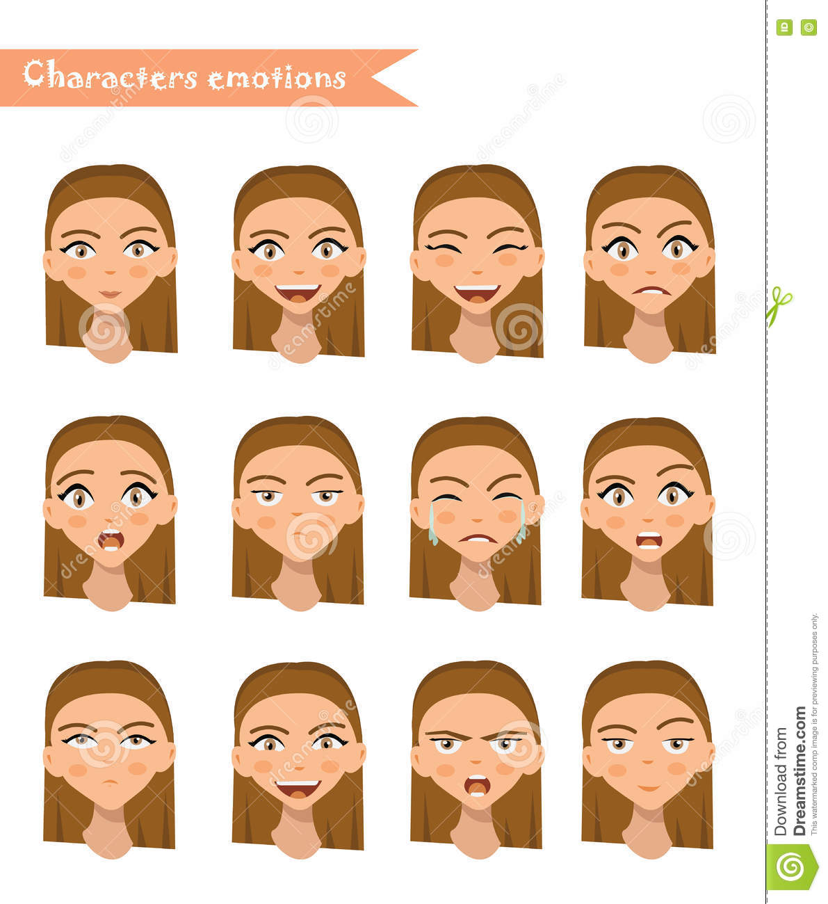 Woman Emotion Face Set. Stock Vector. Illustration Of