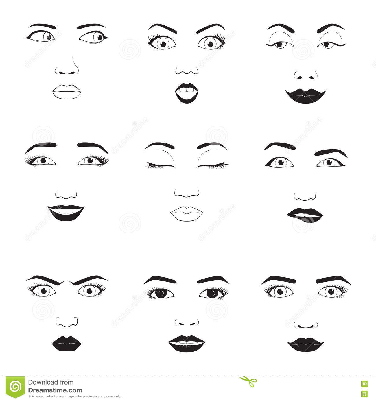 Woman Emotions Face Vector Icons Stock Vector Illustration Of
