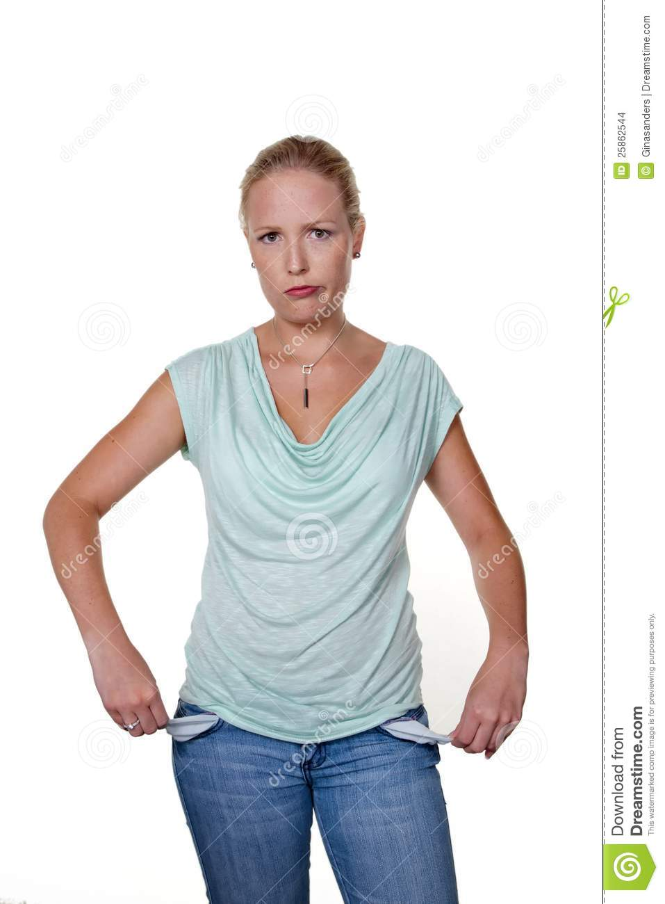 Woman With Empty Pockets Stock Images - Image: 25862544