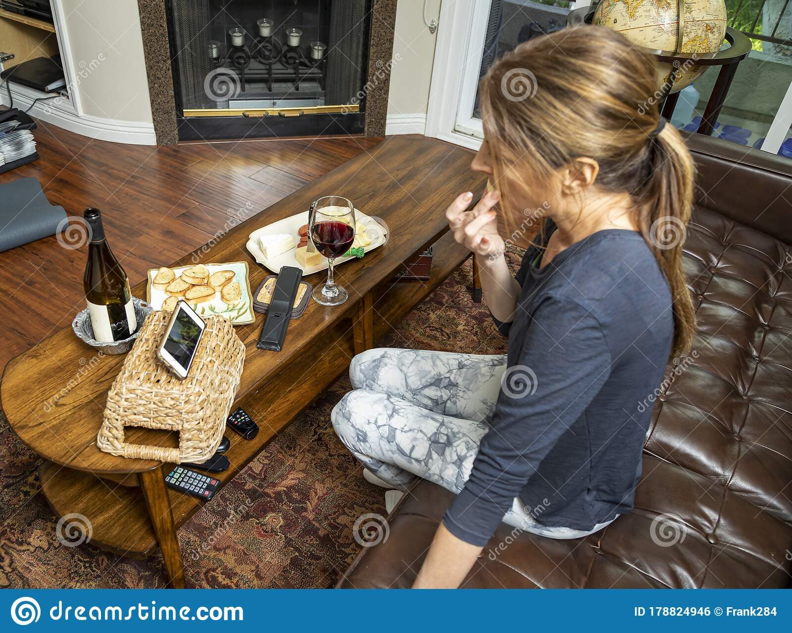 Woman Engaged On A Video Chat In A Virtual Happy Hour Inher Living