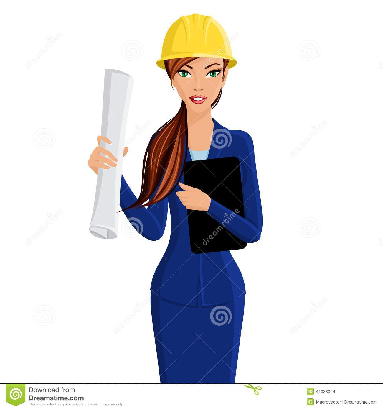 Woman Engineer Portrait Stock Vector Image 41038004