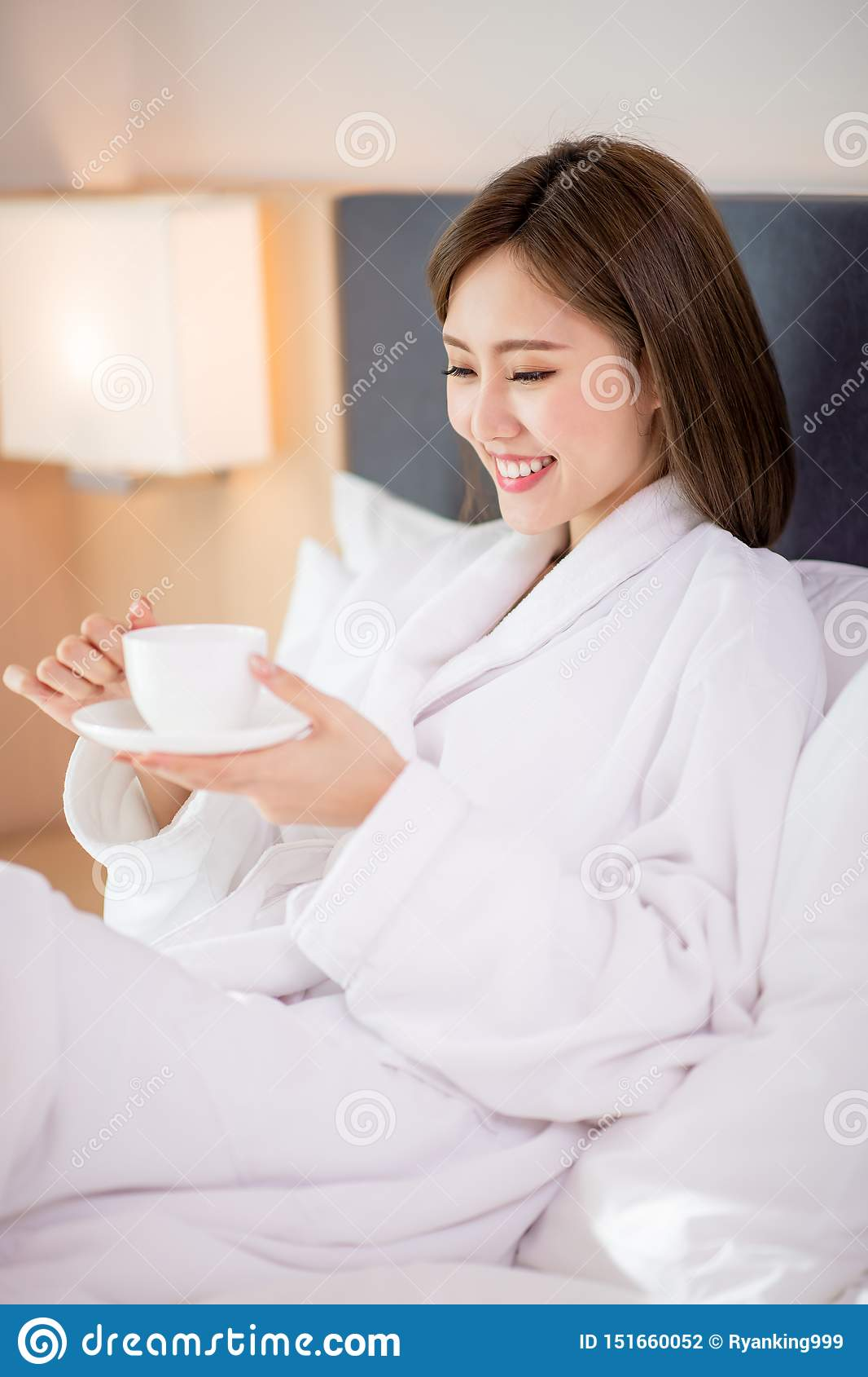 Woman enjoy coffee in morning