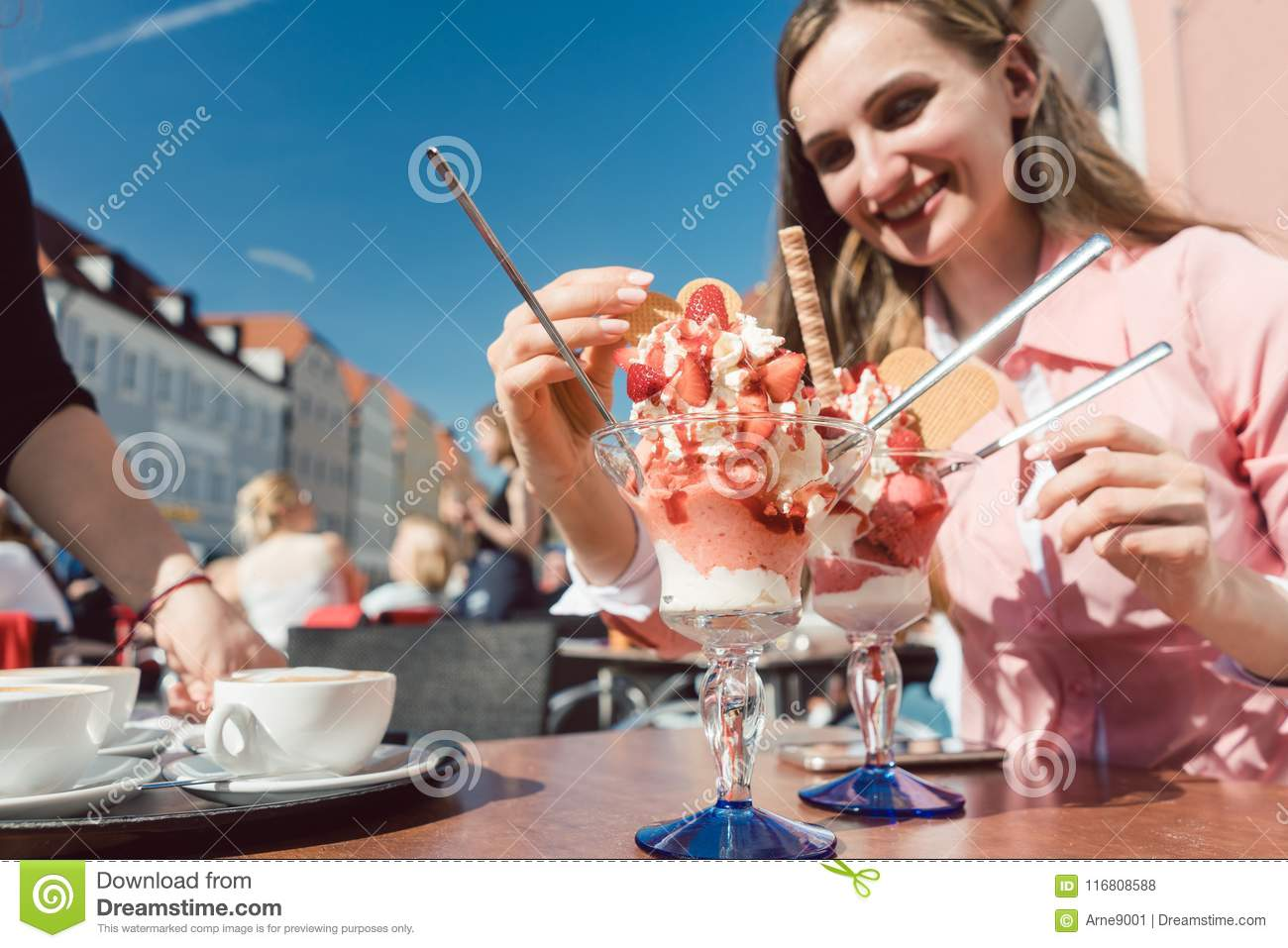 Woman enjoying her ice with strawberries