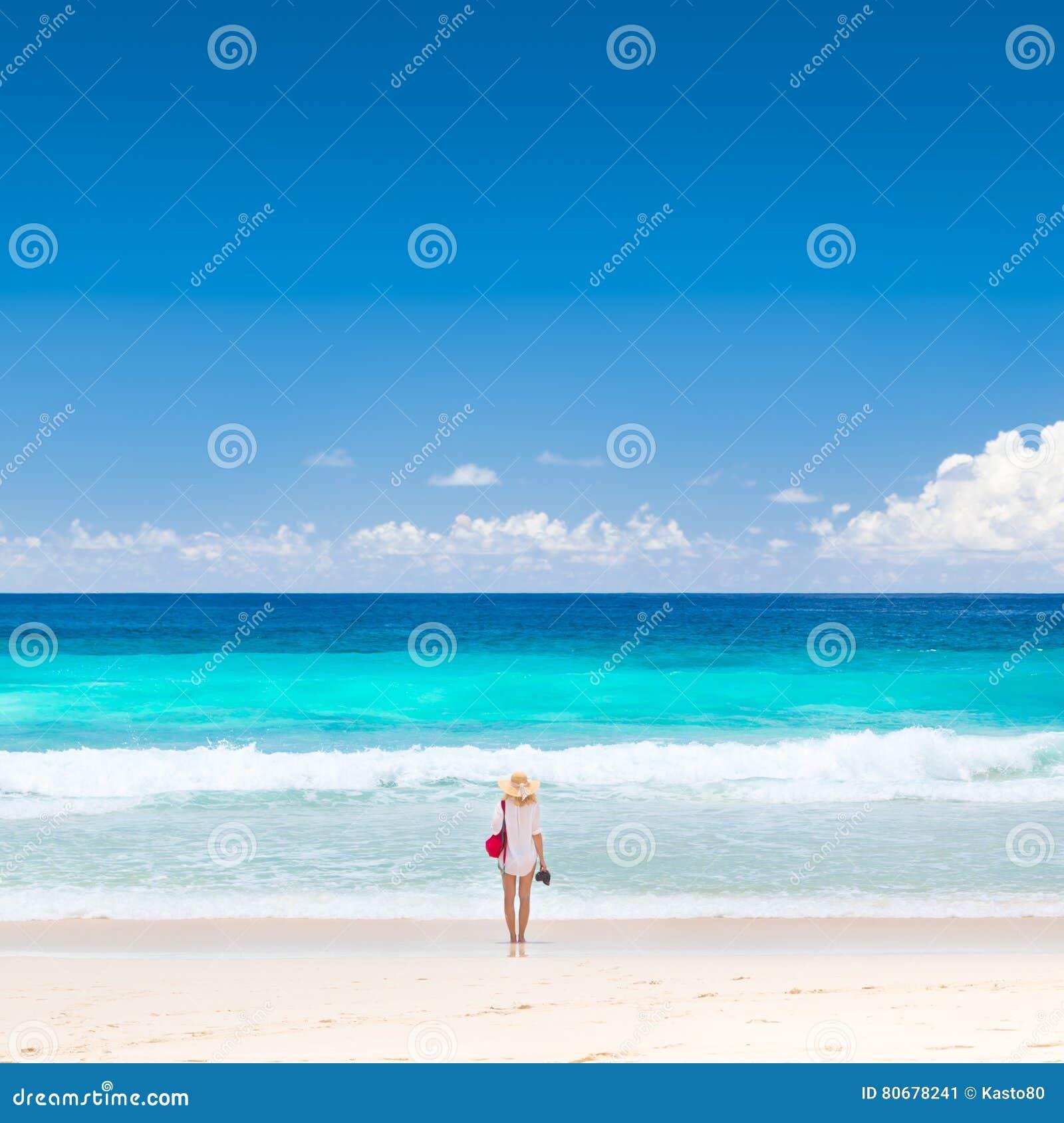 Woman Enjoying At Beach Stock Image Image Of Pleasure: Woman Enjoying Picture Perfect Beach On Mahe Island