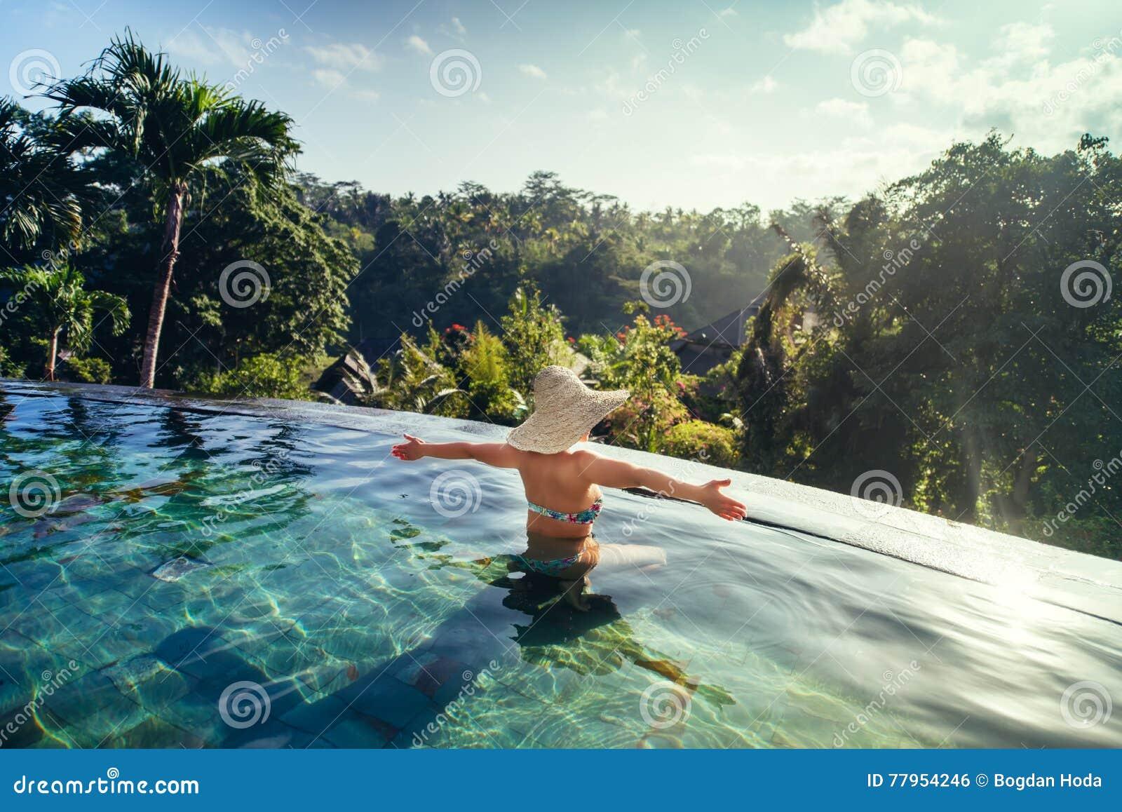 Woman Enjoying Wellness And Spa Swimming Pool Royalty Free