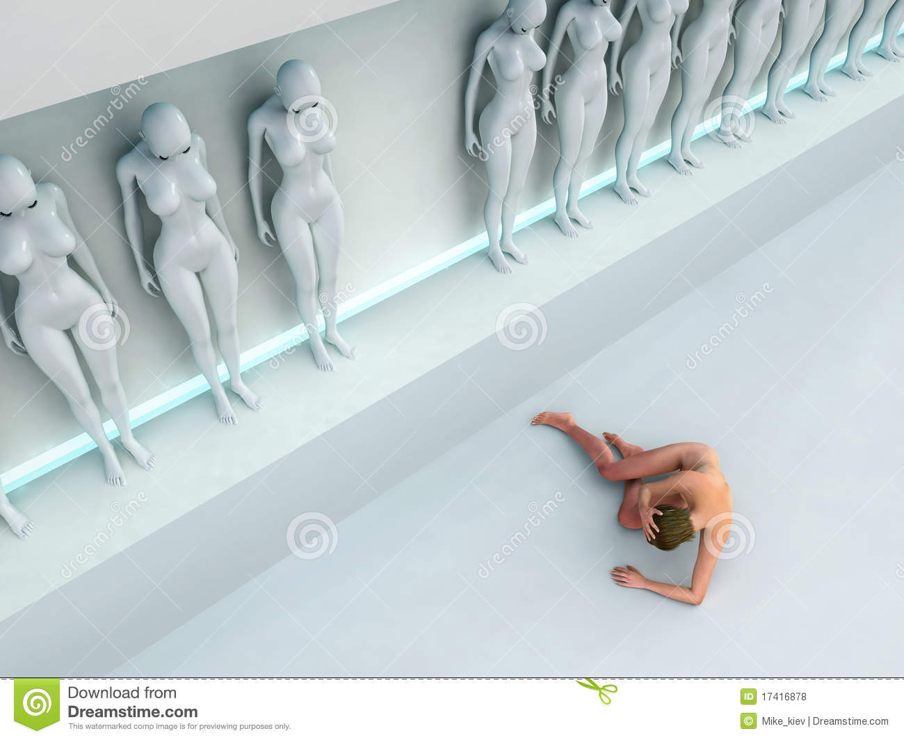 Woman Escape From Human Cloning Factory Stock Illustration