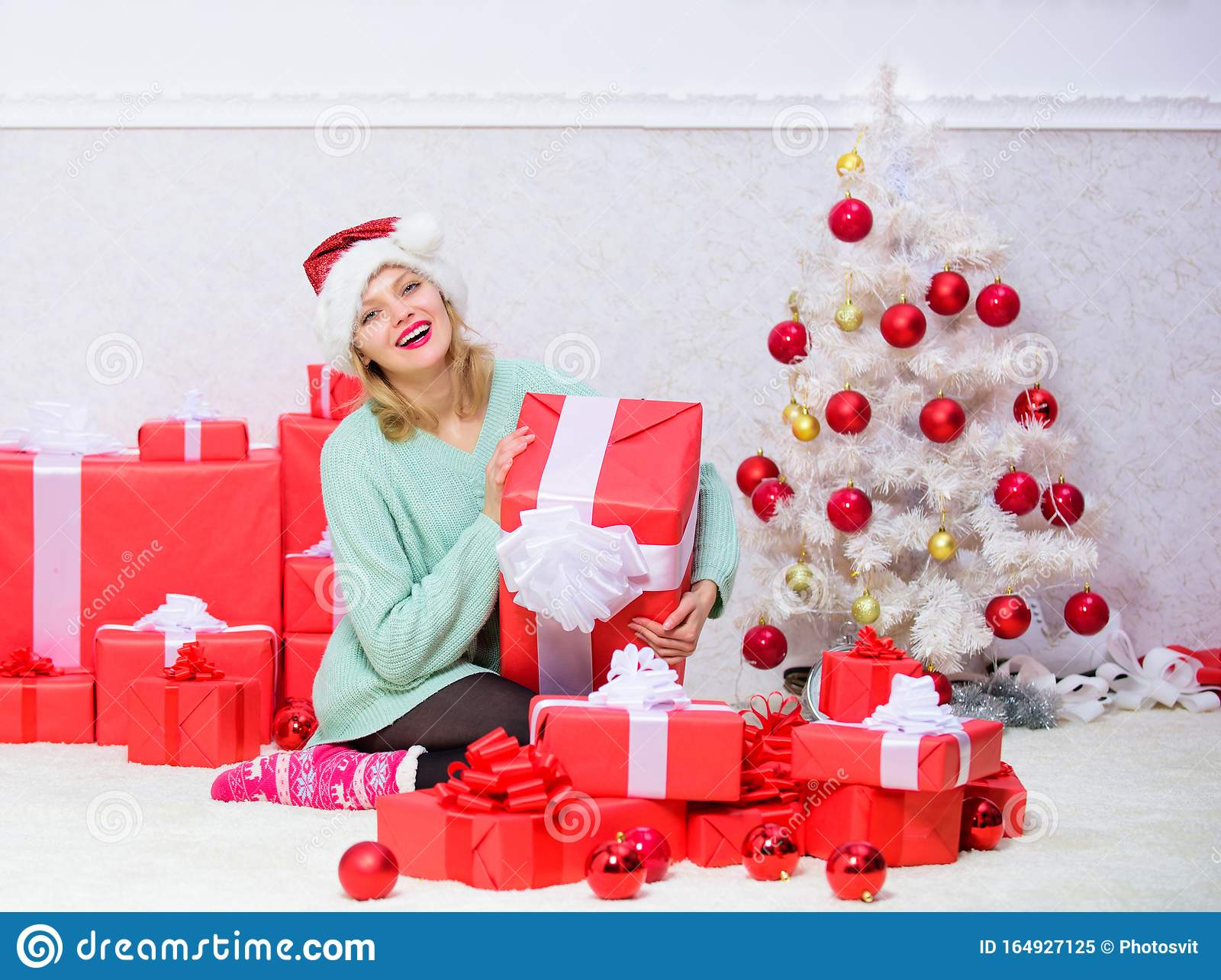 Woman Excited Blonde Hold Gift Box With Bow. Perfect Gift ...