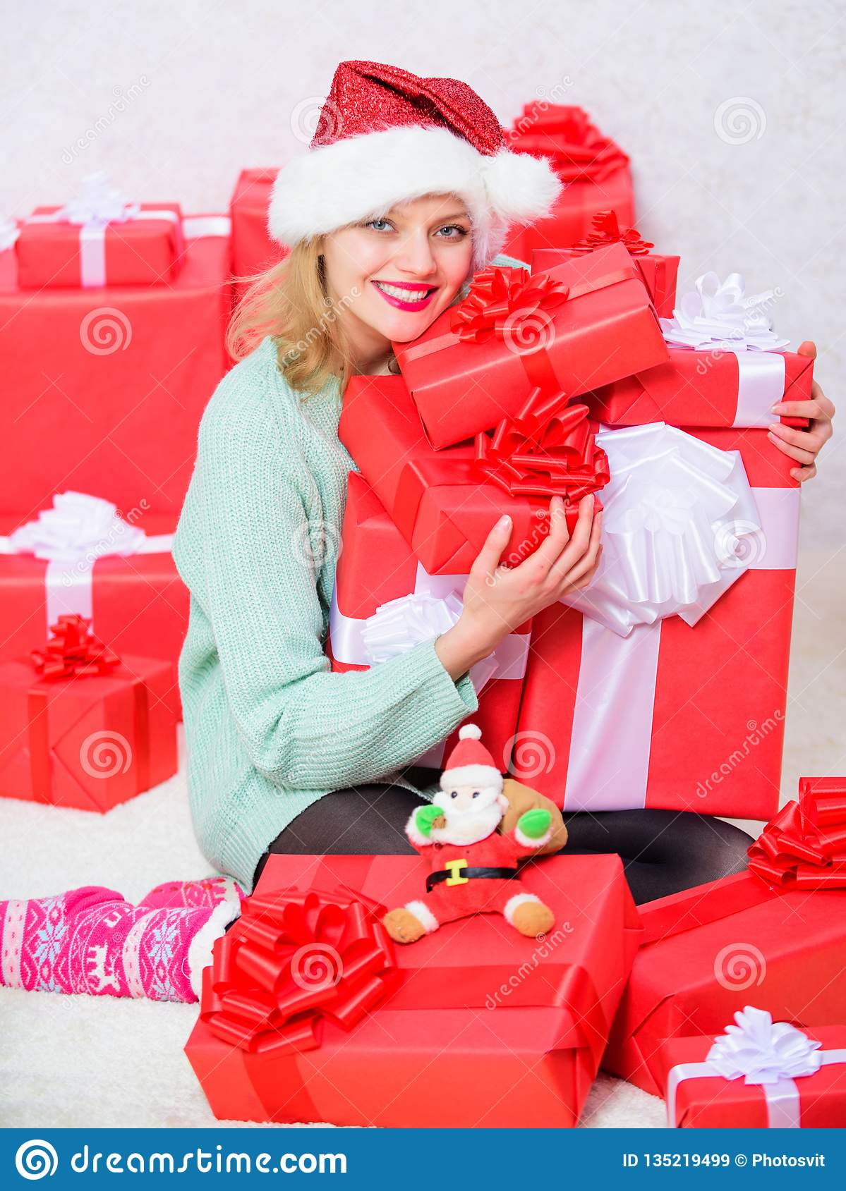 Woman Excited Blonde Hold Gift Box With Bow Perfect Gift For